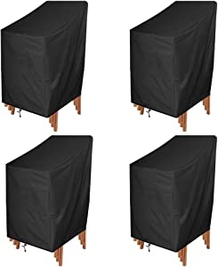ANMINY Waterproof Patio Chair Covers Outdoor High Back Stackable Dining Bar Stool Lawn Chair Cover Furniture Protector UV Resistant Black Pack of 4