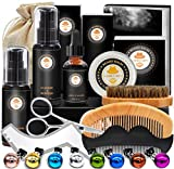 Upgraded Beard Grooming Kit w/Beard Conditioner,Beard Oil,Beard Balm,Beard Brush,Beard Shampoo/Wash, Beard Shaper,Beard Comb,Beard scissors,Storage Bag,Beard E-Book,Beard Growth Care Gifts for Men