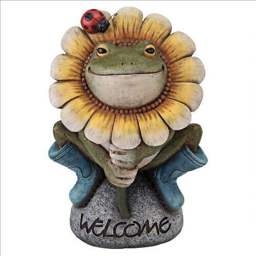 Flowery Frog Garden Welcome Statue Design Flowery Flowers Frog by Statues
