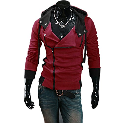 CNSELL Men's Oblique Zipper Jacket Cosplay Costumes Hoodie II Coat (Assassins Creed 2 Costume)