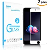 [2-Pack] W&O Glass Screen Protector for iPhone 8 Plus & iPhone 7 Plus Tempered Glass Screen Film 5.5 inch 3D Full Coverage Bubble-Free HD Clear (White)