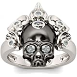 925 Silver Fashion Skull Women Men White Topaz Wedding Engagement Ring Sz6-10#by pimchanok shop (6)