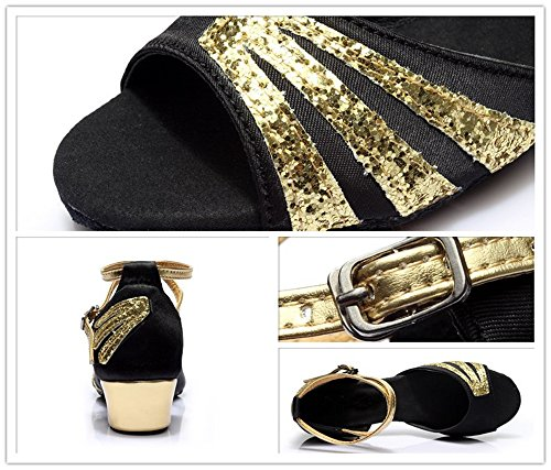 Gold Glittering Strap Satin Latin Dance Shoes for Girls Soft Soled Low Heels(2, Black) by staychicfashion (Image #5)