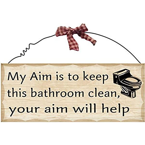 Amazon Com Bathroom Wall Plaque Sign 4x10 Decorative Hanging Wood Sign For Bathroom My Aim Is To Keep The Bathroom Clean Your Aim Will Help Wooden Sign Home Kitchen