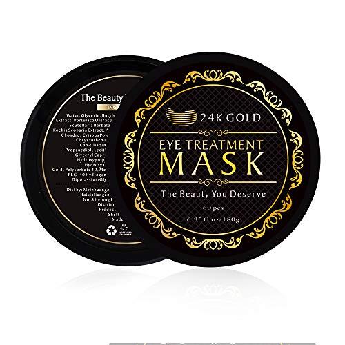 51JVxJPuv6L - Under Eye Patches, 24K Gold Eye Mask, Eye Gel Pads Collagen Eye Treatment Masks Reduces Wrinkles and Puffiness Lighten Dark Circles Moisturizing and Anti Aging 60PCS