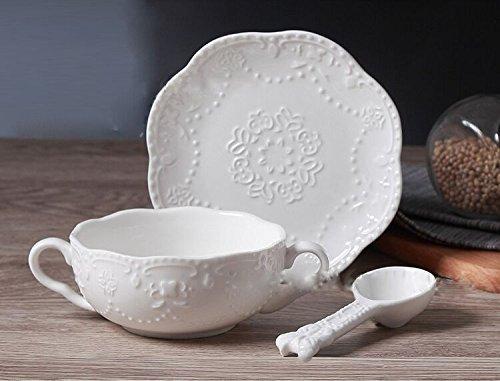 eakfast Cup Dessert Bowls Soup Mug With Saucer and spoon,300ml,white (Two Handle Soup Mug)