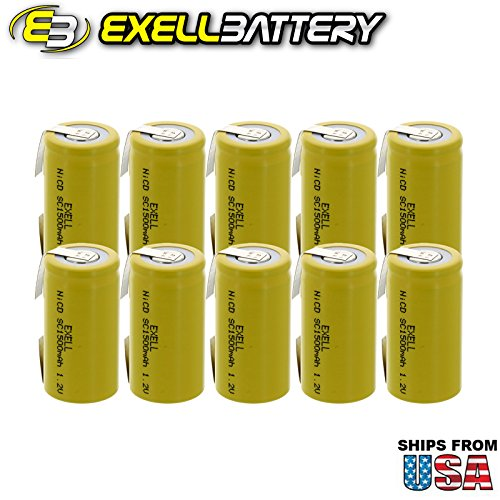 10x Exell SubC 1.2V 1500mAh NiCD Rechargeable Batteries with Tabs for high power static applications (Telecoms, UPS and Smart grid), electric mopeds, meters, radios, RC devices, electric tools