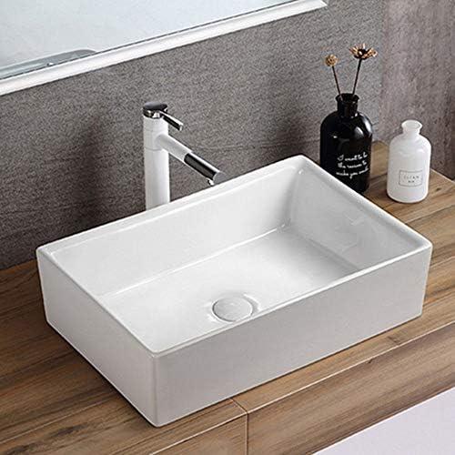 洗面ボール 洗面所洗面化粧台のキャビネットのための現代セラミックホワイト容器シンク浴室の上カウンターアート盆地 洗面器 (Color : White, Size : 60x40x16cm)