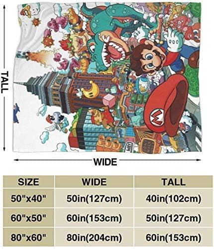 Inhomer Couverture Super Mario couvertures en Flanelle Couverture Chaude Moelleuse Super Douce en Microfibre pour Lits et canapés Plusieurs Tailles Disponibles 60 x 50-80