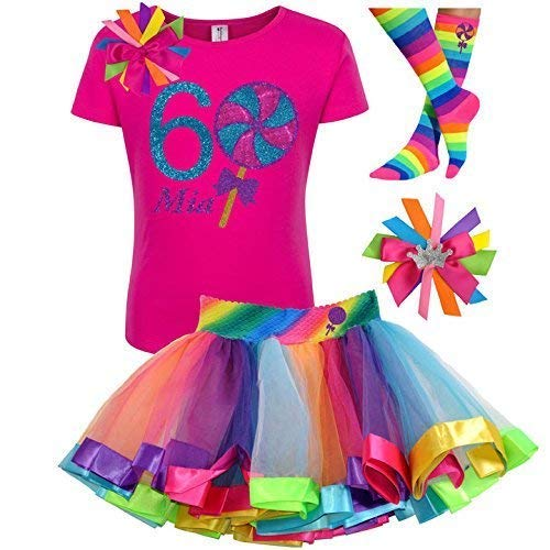 Lollipop Shirt Girls 6th Birthday Outfit Candy Rainbow Tutu Skirt 4PC Gift Set Custom Name Age 6