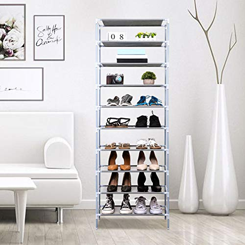 (Jaketen 10 Tiers Shoe Rack - Easy Assembled Non-woven Fabric Shoe Tower Stand - Sturdy Shelf Storage Organizer Cabinet Shelf[US STOCK] (White))