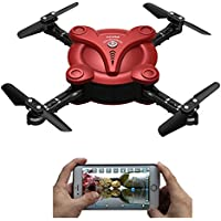 AICase FQ17W WIFI FPV Foldable Pocket Mini Drone With 0.3MP Camera Altitude Hold Mode RC Quacopter Helicopter RTF - Red
