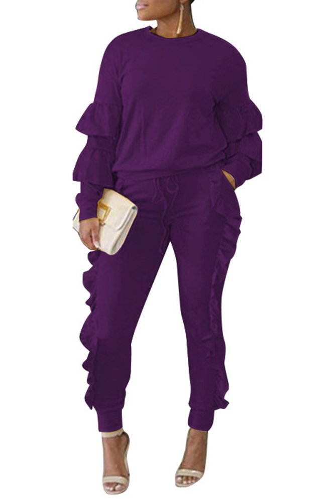 Mojessy Women's Casual Outfits Puff Sleeve Shirt + Long Pants Set Sweatsuits Tracksuits Clubwear Large Purple