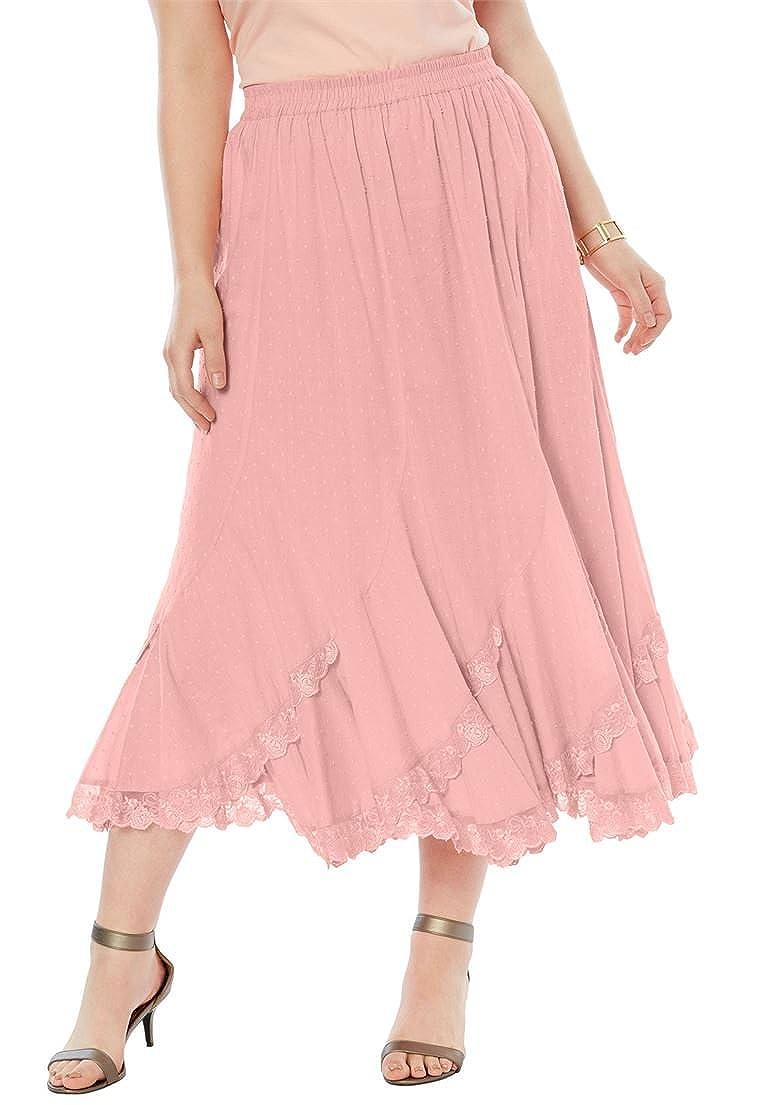 af895be2b42df Roamans Women s Plus Size Cotton Lace Skirt - Pink Peach
