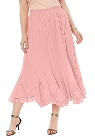 08660f134f Roamans Women s Plus Size Cotton Lace Skirt - Pink Peach