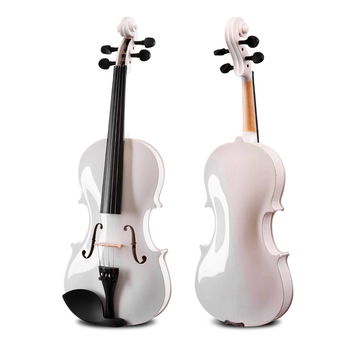 ARTALL 4/4 Handmade Student Acoustic Violin Beginner Pack with Bow, Hard Case, Chin Rest, Tuner, Spare Strings, Rosin and Bridge, Glossy White by ARTALL (Image #3)