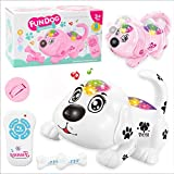 Orland Electronic Pet Dog Interactive Puppy Cartoon Walking Robot Dog Baby Toys Remote Control Robot Dog Toy Toddler Kids Girl Toys Tumbling, Clapping Hands, Bowing,Music (White)