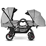 Costzon Double Stroller, Baby Face to Face Carriage with Sleep/Sit/Recline Seat, 5-Point Safety Harness, Detachable Food Tray, Large Storage Space, Gray