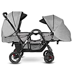 Description: Ideal double stroller for your babies! Construction by durable stainless steel frame and wearable non-toxic and breathable linen cover which can well-protect your babies from rains or harmful rays. This stroller features solidity...