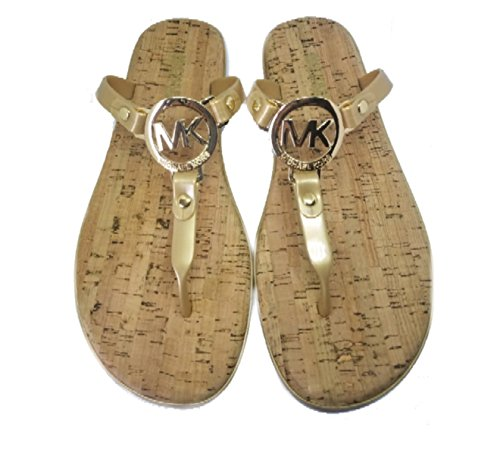 Michael Kors MK Charm Cork Bottom Jelly Flip Flop, Gold, Size 8