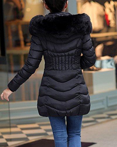 Sintética Chaqueta De Outerwear Mujer Con Piel Espesar Negro Capucha Abrigo Largo 0wxXqHXTE