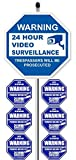 1'24 Hour Video Surveillance Yard Sign (9' x 9') with 36' Long Stake Post with 6 Security Alarm System Stickers (White & Blue)