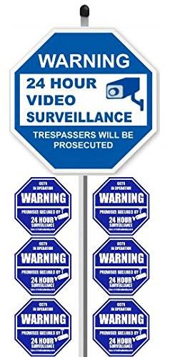 1 24 Hour Video Surveillance Yard Sign 9 X 9 With 36