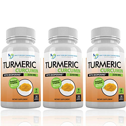 - Turmeric Curcumin with Bioperine - 540 Veggie Caps - 2250mg 95% Curcuminoids Highest Max Potency with Black Pepper for Anti-Inflammatory Joint Pain Relief Pills - 100% Organic Supplement with Triphala