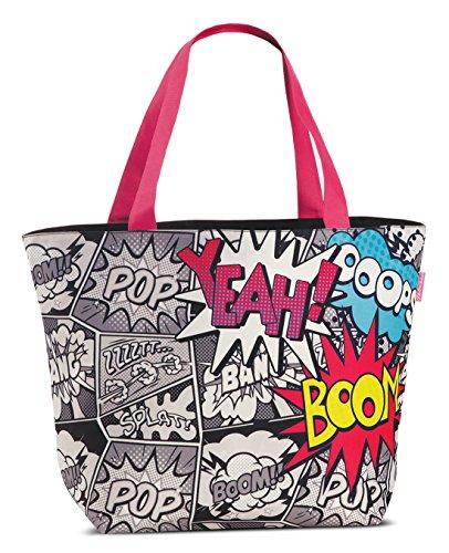 Pop-Art Design Tasche XL Strandtasche schwarz Badetasche coole Umhängetasche im Comic-Style Comic Schwarz