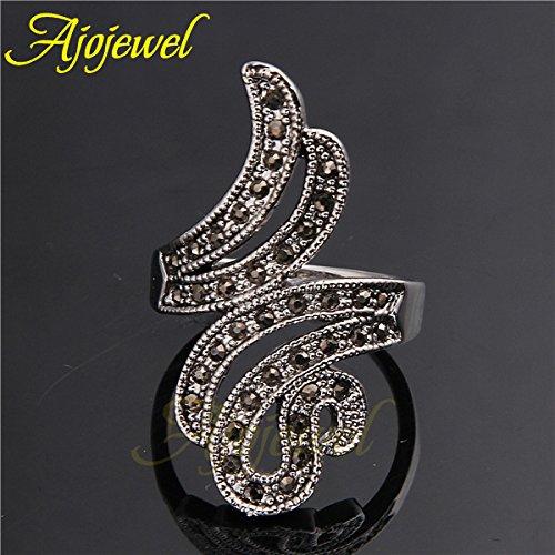 Gemmart Vintage CZ Wing Design Black Ring Women cz engagement ring fashion rings women