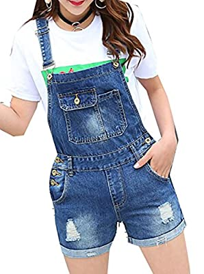 lovever Women's Plus Size Cute Overall Distressed Bib Denim Jumpsuit Shorts
