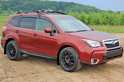 (Rally Armor MF28-UR-BLK/GRY Black, Gray Mud Flap with Logo (14+ Subaru Forester))