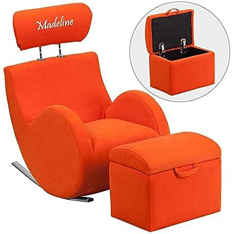 Flash LD 2025 OR EMB GG Emb Orange Fab Rocker Storage Ottoman Size 14 W X 10 D X 12 H