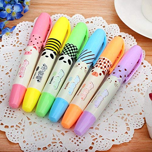 (Cute Kawaii Novelty Cartoon 6Pcs Scented Highlighters Ink Markers Assorted Colors Study Kit,Smooth Quick-Drying Ink,Clear View,Chisel Tip)