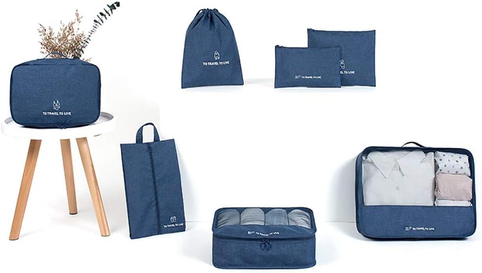AINAAN Travel Storage Bag / 7 pcs Set Luggage Organizer Packing Cubes,Compression Pouch, 2019, Dark Blue