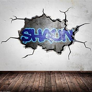 Wandtattoo Graffiti Name Personalisiert 3d Risse Urban Fur Jungen