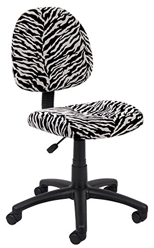 Boss Office Products B325-ZB Perfect Posture Delux Microfiber Task Chair without Arms in Zebra