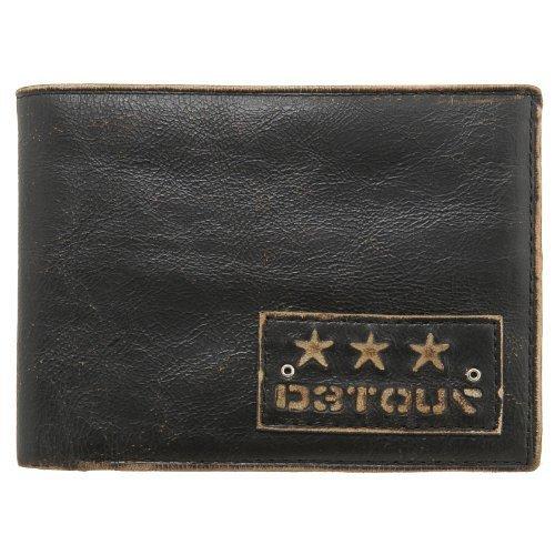 Detour Men's Black Leather Bonham Bi Fold Wallet with Coin Pocket (Fold Wallet Striped Bi)