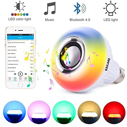 LED Wireless Light Bulb Speaker - RGB Smart Music Bulb 2018 New design Instagram 5000+Likes with Stereo Audio Smart Speaker Wireless 7W E27 LED RGB Changing Lamp+24 Keys Remote Control - Output Base Contact High Daylight