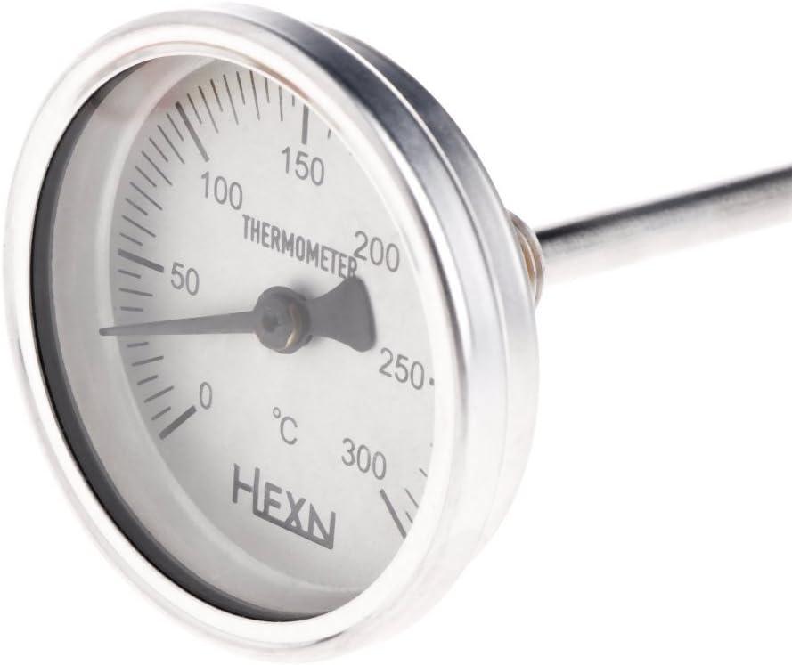 Stainless Steel Bi-metallic Thermometer 1//4PT Thread L=100mm 0~50~300℃ WSS-303