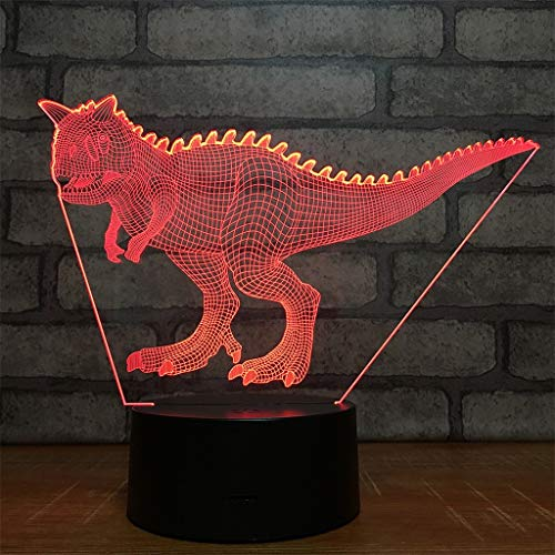 USB Powered Decorative Dinosaur 3D Touch Optical ILLusion Night Light 7 Colors Changing Beside Table Desk Deco Lamp Bedroom Decorative Nightlight with Acrylic Flat Portable Sleeping Light