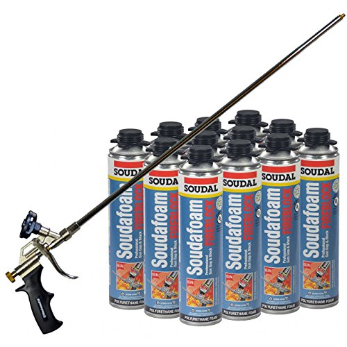 Soudal Pro FireBlock Foam Sealant 24 oz can (Sealed Case of 12) + 2ft Professional Foam Gun (Glass Fire Rated)