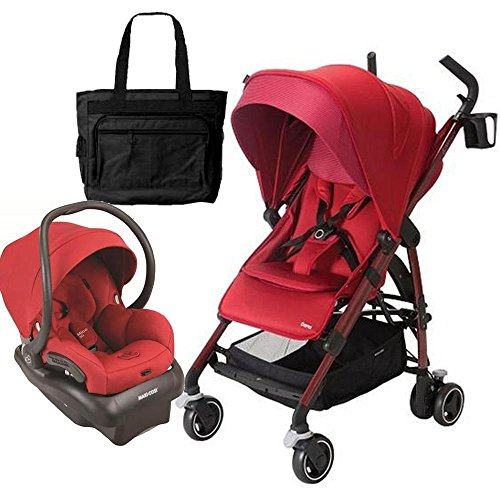 Maxi-Cosi CV258CKTK Dana Stroller - Red Rumor With Carseat and Bag by Maxi-Cosi