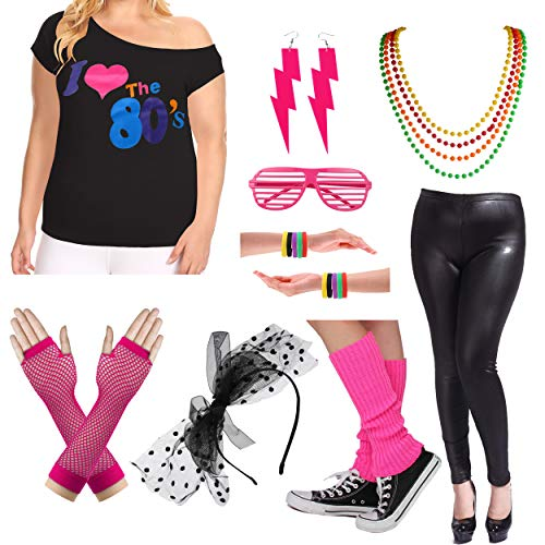 Plus Size 80s Fancy Outfit Costume Set with Leather Leggings for Womens (1X/2X, Hot Pink) -