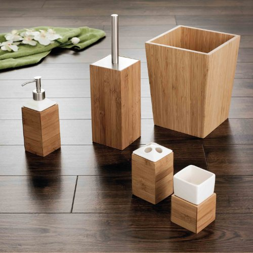 Ridder bamboo bathroom accessories wastebasket with lid for Poubelle salle de bain ikea