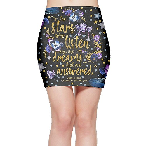 Twinkle Knitting Patterns - Ulady Twinkle Stars Women's Printed Casual Stretchy Bodycon Pencil Mini Skirt