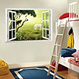 ufengke® 3D Special Effects Prairie Dawn White Horse In The False Window Wall Decals, Living Room Bedroom Removable Wall Stickers Murals