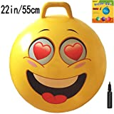AppleRound Space Hopper Ball with Air Pump: 22in/55cm Diameter for Ages 10-12, Hop Ball, Kangaroo Bouncer, Hoppity Hop, Jumping Ball, Sit & Bounce