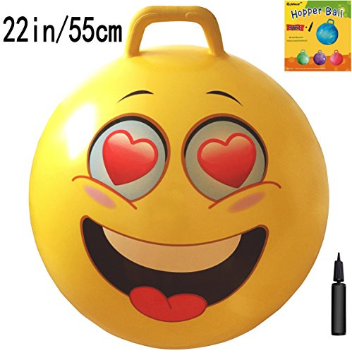 AppleRound Space Hopper Ball with Air Pump: 22in/55cm Diameter for Ages 10-12, Hop Ball, Kangaroo Bouncer, Hoppity Hop, Jumping Ball, Sit & Bounce by AppleRound