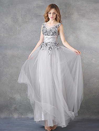 Beauty Rückenfrei Grau Pailletten Tüll Falten Emily Sehen Abendkleid x0n6wZ0